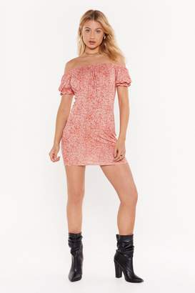Nasty Gal Womens Hard Work Paisley Off-the-Shoulder Mini Dress - red - 10