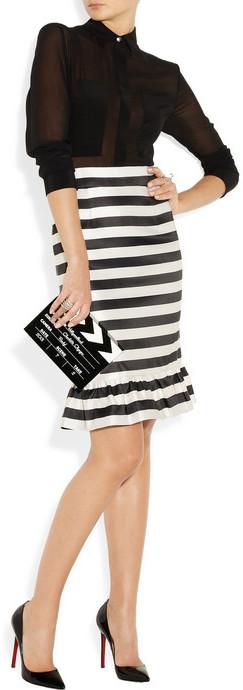 Mother of Pearl Bella striped silk-satin skirt