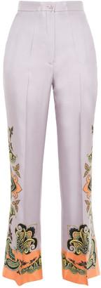 Etro Printed Silk-twill Flared Pants