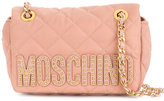 Moschino studded logo shoulder bag