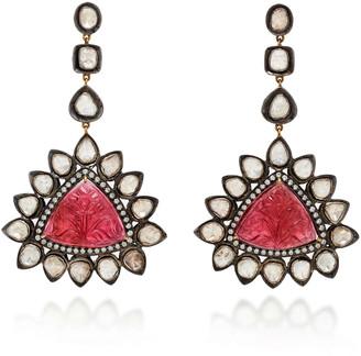 Amrapali 14K Gold Tourmaline And Diamond Earrings