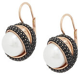 Honora As Is Cultured Pearl 10.0mm & Gem- stone Crossover Bronze Earrings