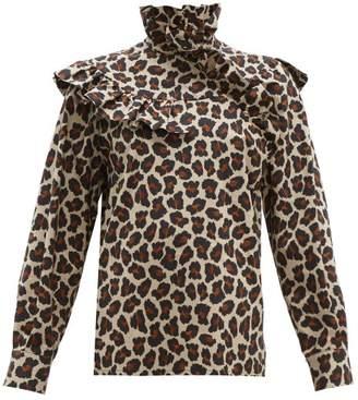 MSGM Leopard Print Ruffle Trim Cotton Poplin Blouse - Womens - Leopard