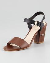 Chloé Two-Tone Open-Toe Sandal, Brown/Black