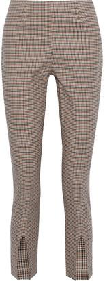 Frame Andorra Split-front Gingham Cotton-blend Slim-leg Pants