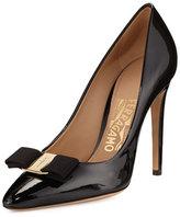 Salvatore Ferragamo Emy Patent Bow 100mm Pump, Black (Nero)