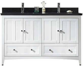 "American Imaginations 60"" Double Bathroom Vanity Set Base Finish: White, Top Finish: Black Galaxy, Faucet Mount: Single"