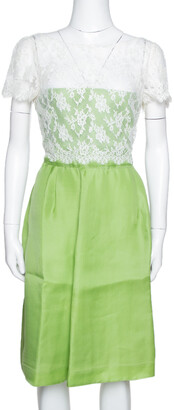 Valentino Lime Green Silk Contrast Lace Detail Sheath Dress L