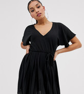 Asos DESIGN Petite v neck mini dress with pleated skirt and self belt