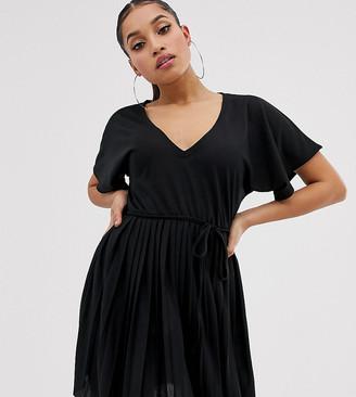 Asos DESIGN Petite v neck mini dress with pleated skirt and self belt