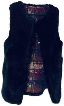 Bark Black Faux fur Coat for Women