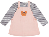 John Lewis Leopard Pinafore and Striped Top, Pink