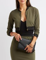 Charlotte Russe Textured Cropped Bomber Jacket