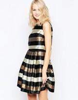 Little Mistress Skater Dress in Metallic Stripe