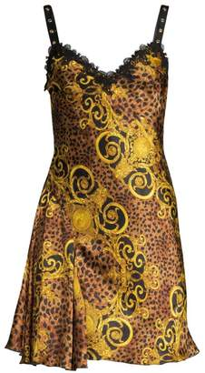 Versace Lady Baroque & Leopard Print Dress