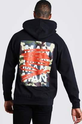 boohoo MAN Camo Graffiti Back Print Hoodie