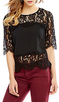 Miss Me Illusion-Lace-Overlay Cropped Top