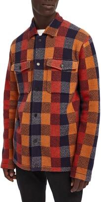 Scotch & Soda Check Knit Wool Blend Shirt Jacket