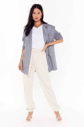 Nasty Gal Womens Running Behind High-Waisted Belted Joggers - Cream - 8