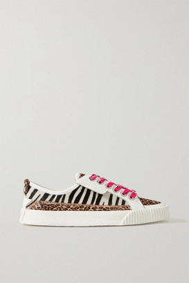 Jimmy Choo Impala Leather And Animal-print Calf Hair Sneakers - White
