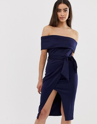 Club L London bardot belted midi dress-Navy