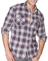 191 Unlimited Men's Purple Plaid Flannel Shirt