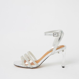 River Island Womens Silver metallic diamante perspex heel sandals