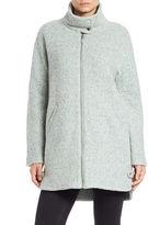 Bernardo Stand Collar Mid Length Wool Blend Coat