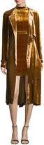 A.L.C. Augusto Belted Velvet Trenchcoat, Gold