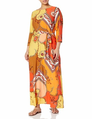 Donna Morgan Women's Plus Size 3/4 Sleeve Stretch Knit Jersey Maxi Dress