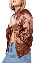 Topshop Women's 'Ma1' Shiny Bomber Jacket