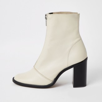 River Island Womens Ecru leather zip front heeled boots