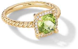 David Yurman Petite Chatelaine Pave Bezel Ring in 18K Yellow Gold with Peridot