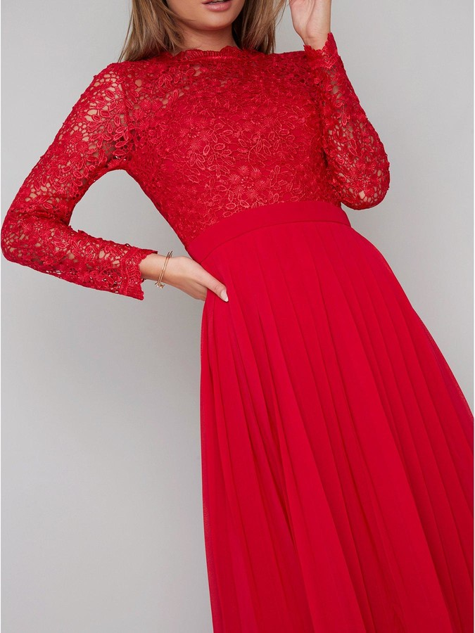 Chi Chi London Naarah Lace Top Midi Dress - Red