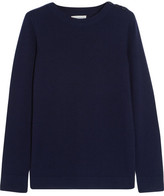 Chinti and Parker Faux Suede-trimmed Merino Wool Sweater - Midnight blue