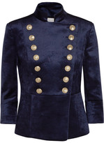Pierre Balmain Double-breasted Stretch-velvet Blazer - Navy
