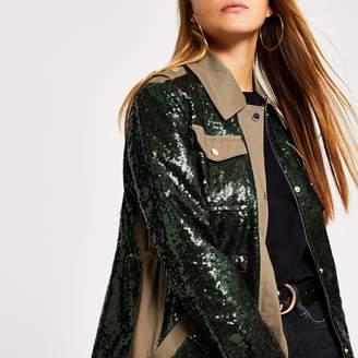 River Island Womens Khaki sequin embellished army jacket