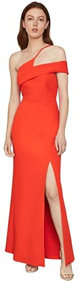 BCBGMAXAZRIA One Shoulder Gown (Vibrant Orange) Women's Dress