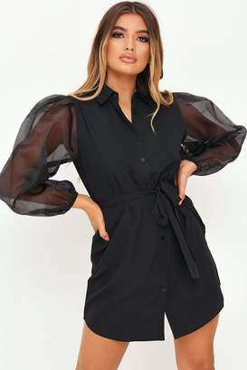 I SAW IT FIRST Black Organza Belted Puff Sleeve Shirt Dress