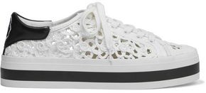 Alice + Olivia Emersyn Embroidered Leather-trimmed Faux Raffia Platform Sneakers