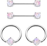 Body Candy Steel Iridescent Accent Captive Ring Barbell Nipple Ring Set 14 Gauge 1/2""