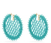 Oscar de la Renta Bead-embellished lattice-disc earrings