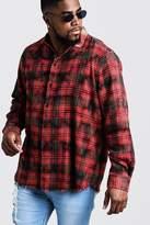 BoohooMAN Big & Tall Dip Dye Check Shirt