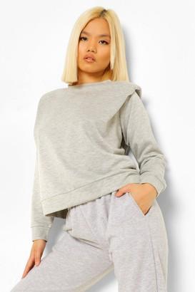 boohoo Petite Shoulder Pad Sweatshirt