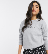 New Look Petite be kind slogan sweat in grey