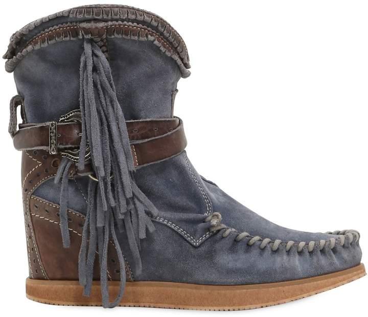 EL VAQUERO 70mm Arya Fringed Suede Wedge Boots