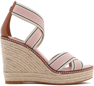 Tory Burch Leather-trimmed Grosgrain Wedge Espadrille Sandals