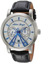 Adee Kaye Men's Automatic Stainless Steel and Leather Dress Watch, Color:Black (Model: AK8871-SVBU)
