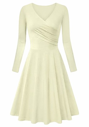 EFOFEI Womens Dress Long Sleeve Midi Dress Solid Wrap Dress Burgundy XL