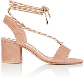 Gianvito Rossi Women's Ankle-Tie Suede Sandals-PINK